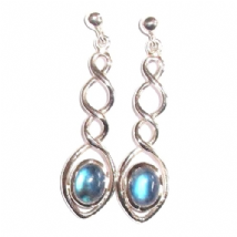 Triple Twist Rainbow Moonstone Earrings Silver